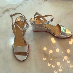 Metallic Silver Prada Wedge Sandal Heels